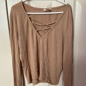 Tan cropped long sleeve